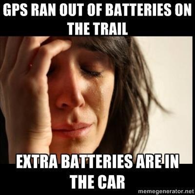 Geocaching Meme batterij GPS vergeten
