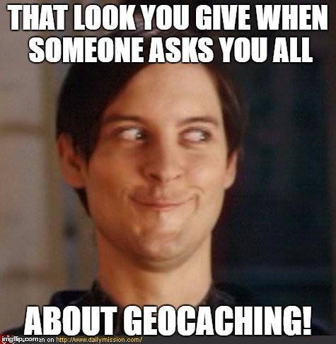 Geocaching Meme enthousiasme voor Geocaching