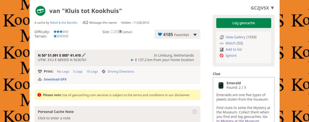 Geocache listing Van Kluis tot Kookhuis