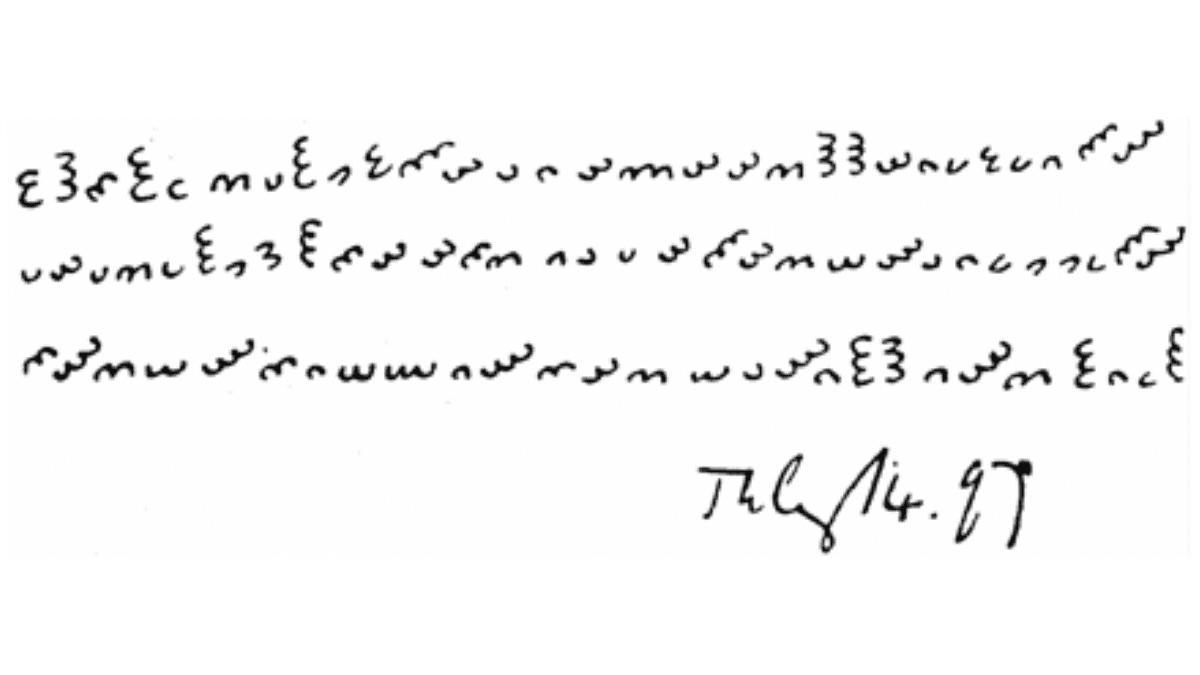 Dorabella cipher - origineel bericht Edward Elgar